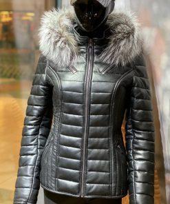 Leren winterjas dames 009 new zwart