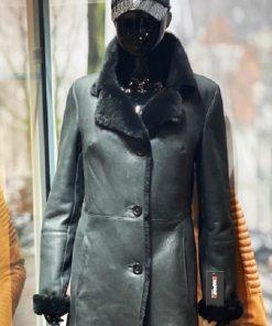 Lammy Coat Dames – halflange 3 knop - Zwart lamsleer