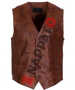 Leren vest heren Gilet 9914 Brandy / tan