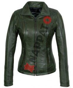 Leren jas dames 9938 A groen