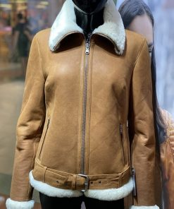 Lammy coat dames Aviator Tan / cognac
