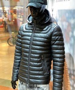 Leren winterjas heren Basic MK Zwart