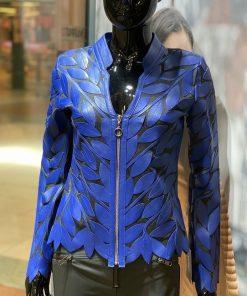 Leren dames jasje Bladeren v blauw