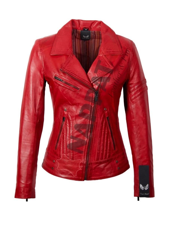 Rode Leren Dames Jas.Leren Jas Dames Jane 5 Rood Nappato Leather