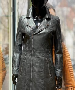 Leren lange jas dames Lady coat zwart