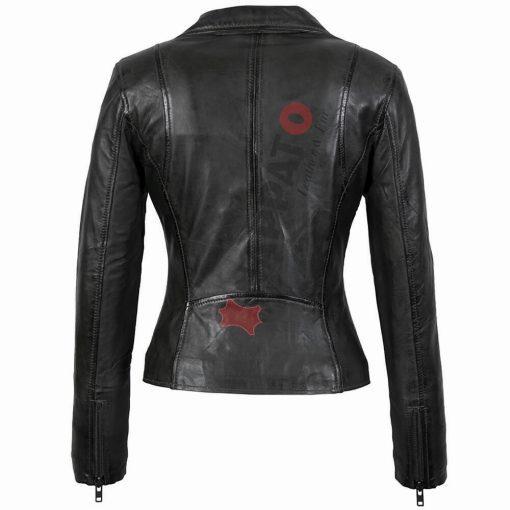 Leren jas dames - Pertfecto in - zwart lamsleer