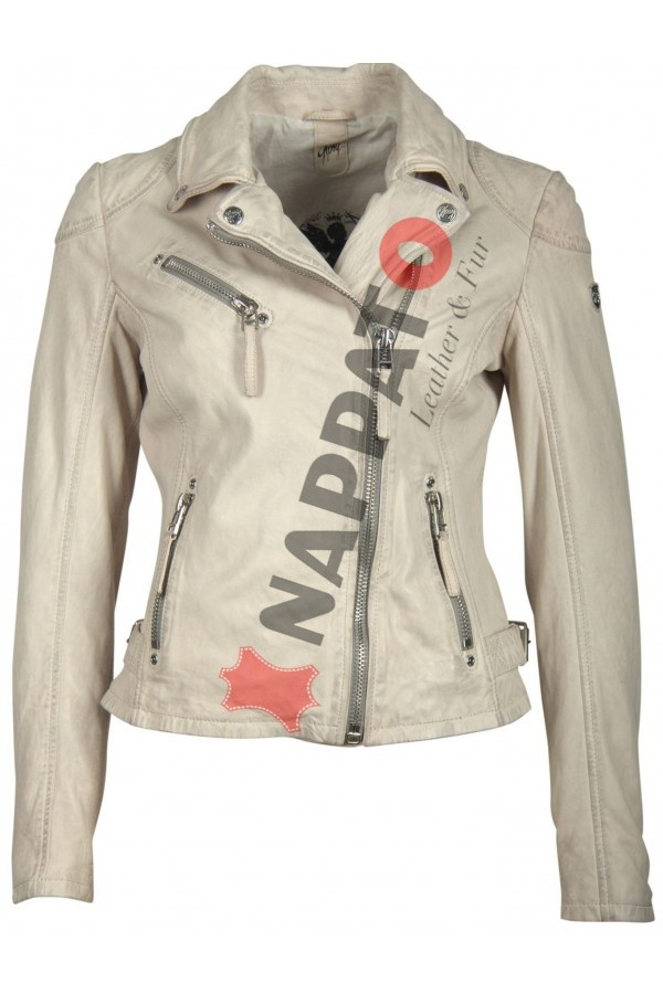 Zomerjas Leer Dames.Dames Leren Jas Pgg Lab Off White Nappato Leather