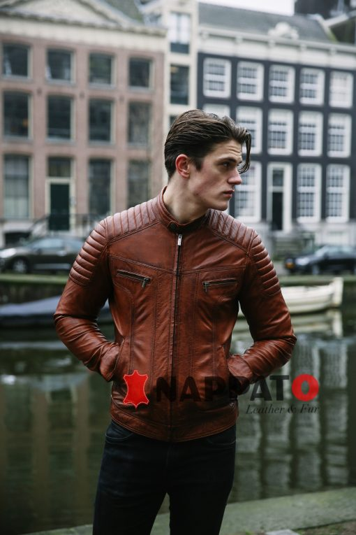 Leren jas heren Ryan brandy/tan - nappato