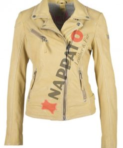 Dames leren jas S20 pale yellow