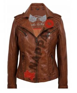 Leren dames jas T2 Brandy / tan