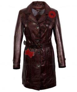 Leren lange jas dames - Trenchcoat - Veg Wood