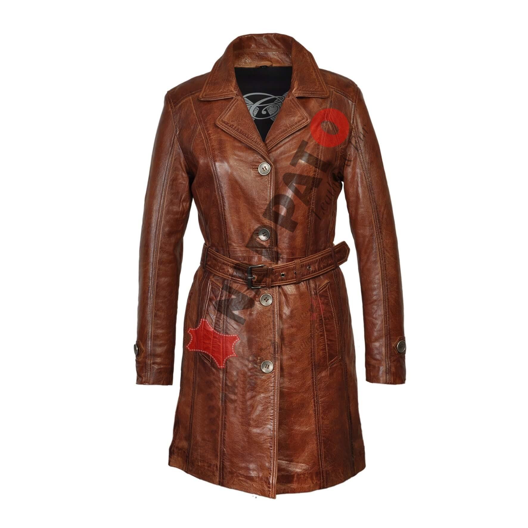 f9983b59095 Leren Jassen Dames - Trench Coat Brandi - Nappato Leather