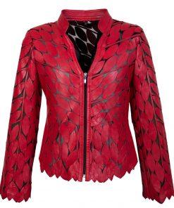 Leren dames jasje V Bladeren rood