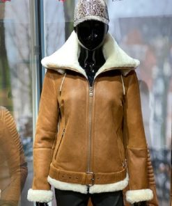 Lammy coat dames Aviator Tan / cognac