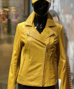 Dames leren jas bella dark yellow