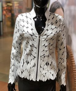 Leren dames jasje Bladeren v wit