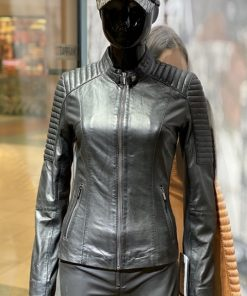 Dames leren jas Lady biker zwart