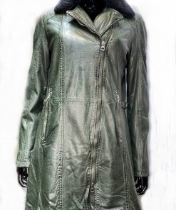 Leren lange jas dames cyla groen