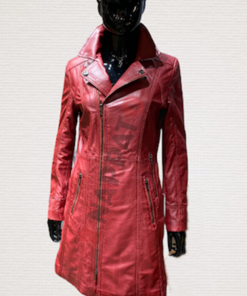 Leren lange jas dames lady coat rood lamsleer