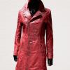 lange leren jas dames lady coat rood