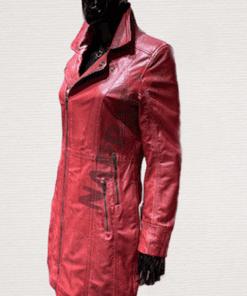 Leren lange jas dames lady coat rood lamsleer side