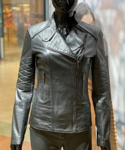 Leren jas dames T1 zwart